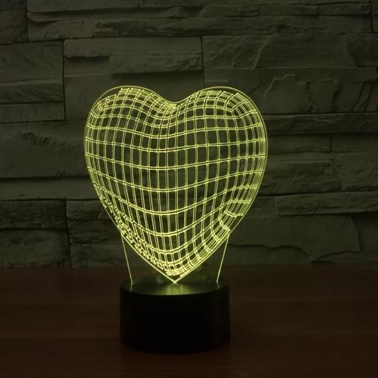 3D Led Işıklı Kalp Lamba