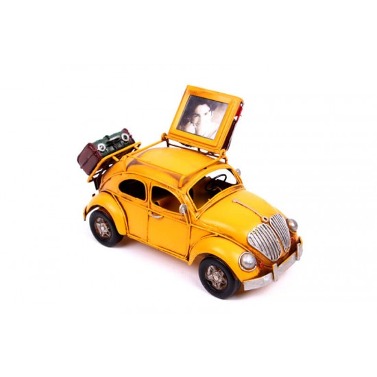 Volkswagen Beetle Classic Vosvos Dekoratif Metal Araba Çerçeveli