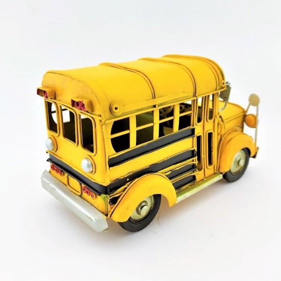 Nostaljik Dekoratif Metal Araba Okul Otobüsü