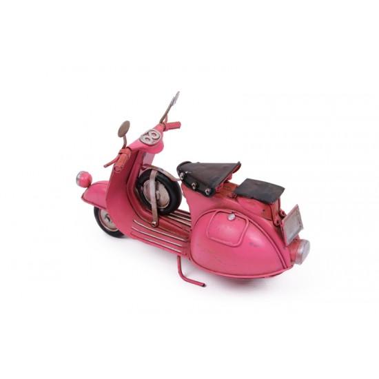 Dekoratif Metal Pembe Scooter