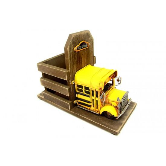 Dekoratif Metal Araba Okul Otobüsü Kalemlik
