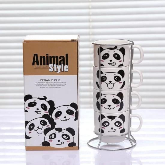 Panda Temalı 4'lü Fincan Takımı