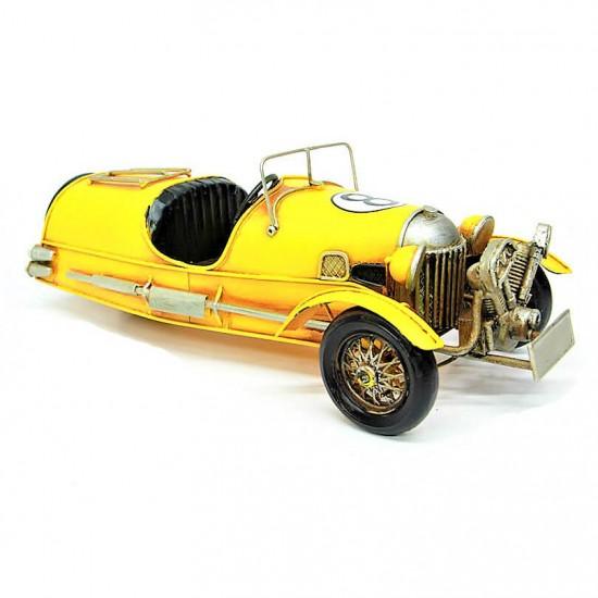 Nostaljik  Metal Yarış  Arabası Sarı Büyük Boy Model 1