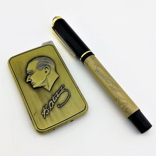 Atatürk Temalı Çakmak ve Kabartmalı Kişiye Özel Kalem Seti