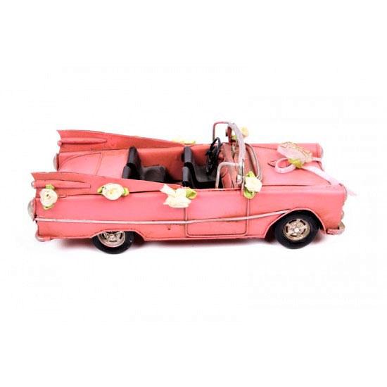 Metal Nostaljik Pembe Chevrolet Gelin Arabası