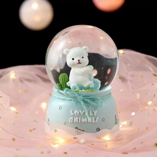 Sevimli Hayvanlar Işıklı Müzikli Kar Küresi