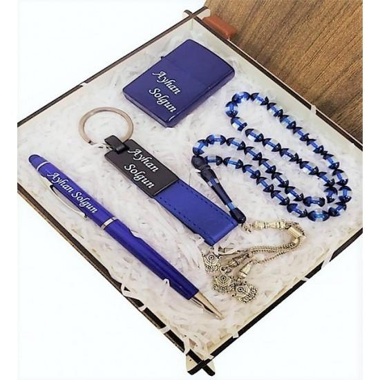 Mavi Kehribar Tespih Kalem Çakmak Ve Anahtarlık Set