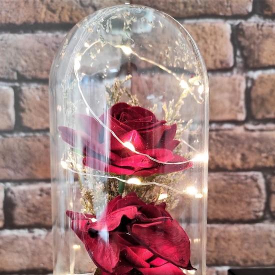 Işıklı Kırmızı Gül Tasarımlı Fanus Ve Kolye Seti
