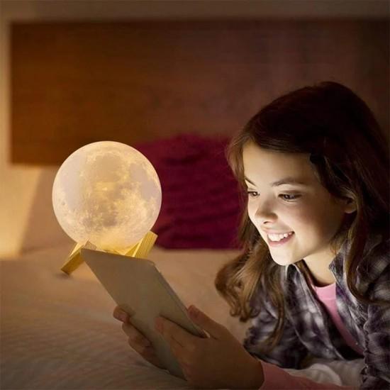 Standlı 3D Büyük Boy Ay Lamba Gece Lambası