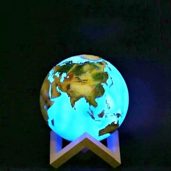 3 Boyutlu Kabartmalı Dünya Gece Lambası