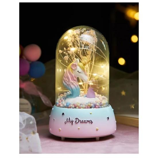 Cam Fanus İçinde Unicorn Ve Tatlı Kız  Işıklı Müzik Kutusu