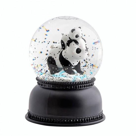 Sevimli Panda Ve Yavrusu Işıklı Müzikli Püskürtmeli Büyük Boy Kar Küresi