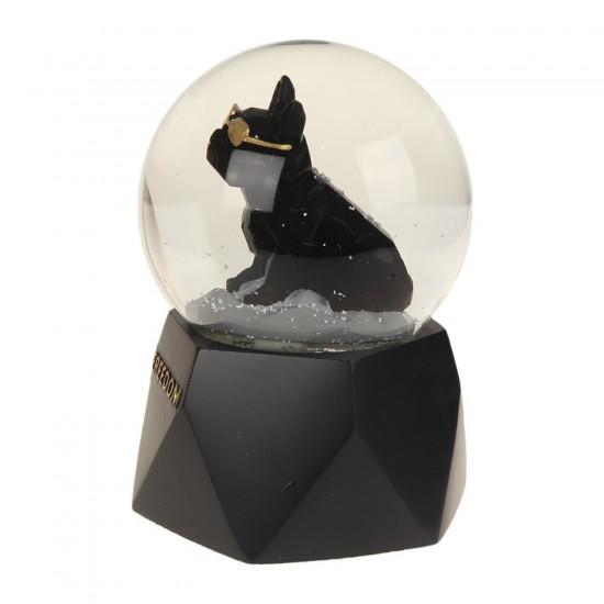 Gözlüklü Siyah Köpek Işıklı Müzikli Püskürtmeli Büyük Boy Kar Küresi