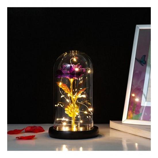 Dekoratif Gül Tasarımlı Led Işıklı Cam Fanus