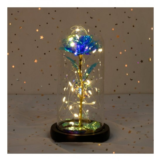 Dekoratif Fosforlu Gül Tasarımlı Led Işıklı Cam Fanus