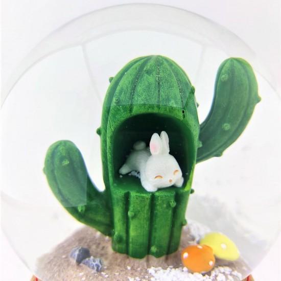 Kaktüs İçinde Sevimli Tavşan Işıklı Müzikli Büyük Boy Kar Küresi