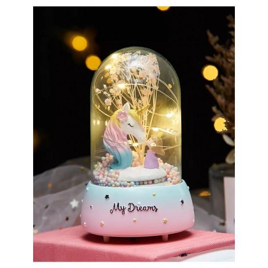 Cam Fanus İçinde Unicorn Ve Sevimli Kız Işıklı Müzik Kutusu