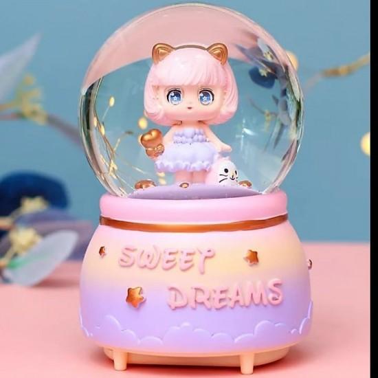 Tatlı Rüyalar Işıklı Müzikli Orta Boy Kar Küresi
