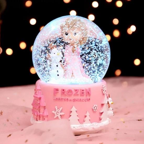 Pembe Frozen Işıklı Müzikli Büyük Boy Kar Küresi