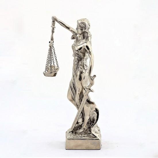 Kişiye Özel Dekoratif Zamak Adalet Terazisi Heykel Biblo 27 Cm