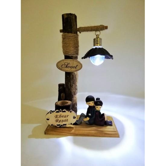 İsme özel Sırt Sırta Veren Işıklı  ( model 1)