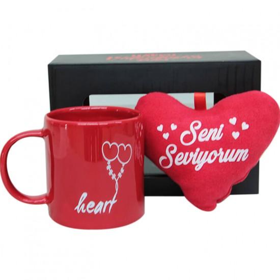 Ayıcıklı Love You Stres Kupa ve Peluş Kalp