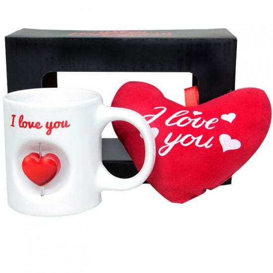 Love You Stres Kupa ve Peluş Kalp