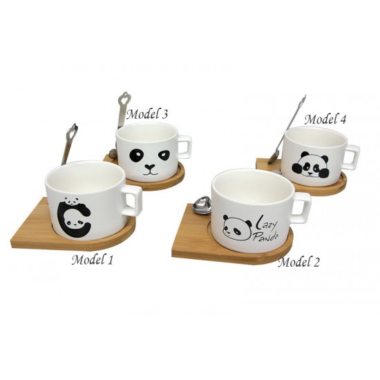 İsme Özel Ahşap Mıknatıslı Tepsili Panda Kahve Seti