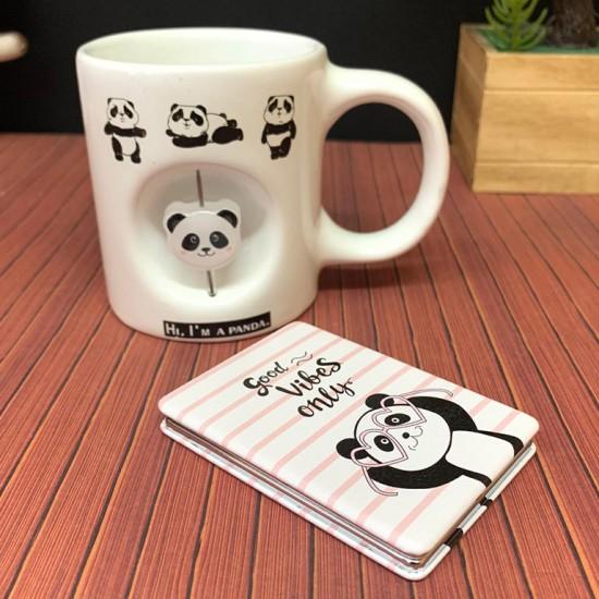 Panda Temalı Dekoratif Stres Kupa ve Ayna Seti