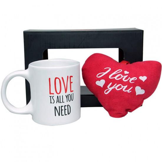 Sevgililer Günü Stres Kupa ve Peluş Kalp