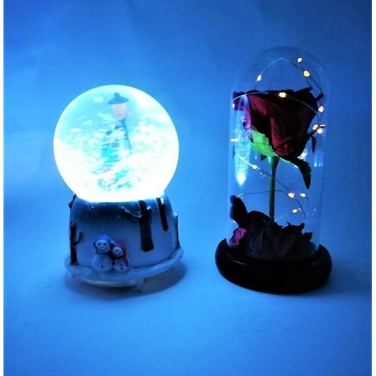 Işıklı Kar Küresi Müzik Kutusu Ve Işıklı Gül
