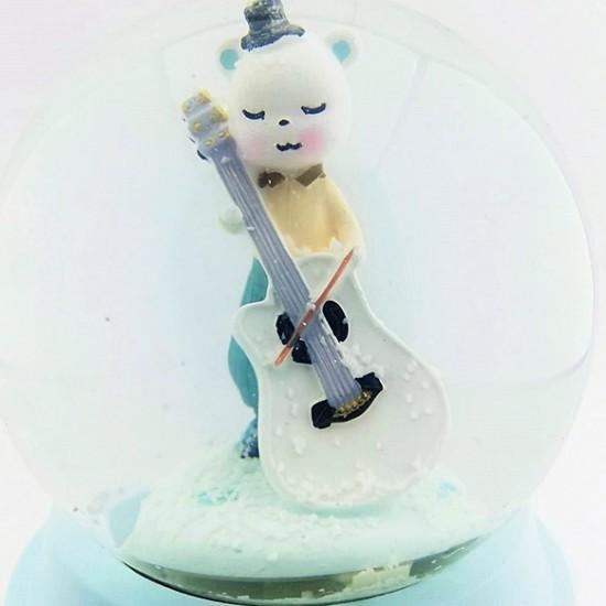 Çello Çalan Sevimli Kedikcik Işıklı Müzikli Motorlu Kar Küresi