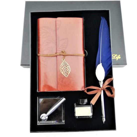 İsme Özel Hatıra Defteri Masa Üstü Tüylü Divit Kalem Mürekkep Seti  Kahverengi