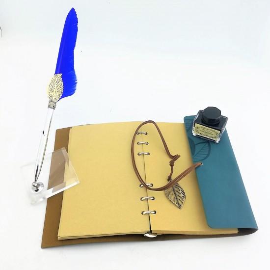 İsme Özel Hatıra Defteri Masa Üstü Tüylü Divit Kalem Mürekkep Seti Yeşil