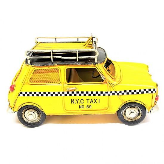 Dekoratif  Cooper  Taksi Çerçeveli ve Kumbaralı Metal Araba Büyük Boy