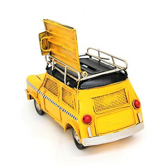 Dekoratif  Cooper  Taksi Çerçeveli ve Kumbaralı Metal Araba