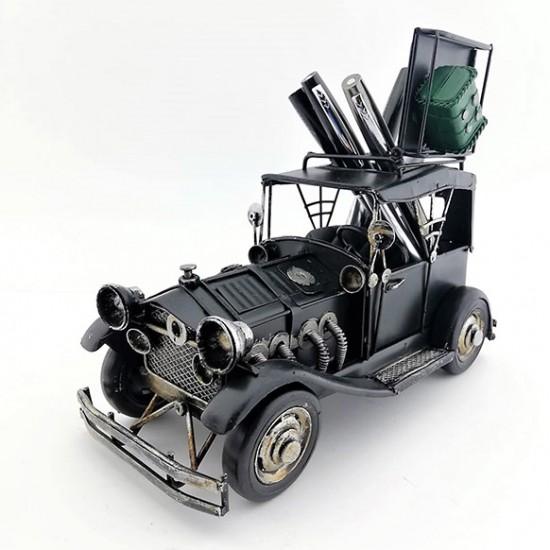 Kişiye Özel Dekoratif Görünümlü Kalemlikli ve Çerçeveli Nostaljik Metal Araba