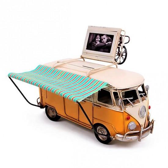 Dekoratif Metal Araba Tenteli Karavan Büyük Boy Sarı