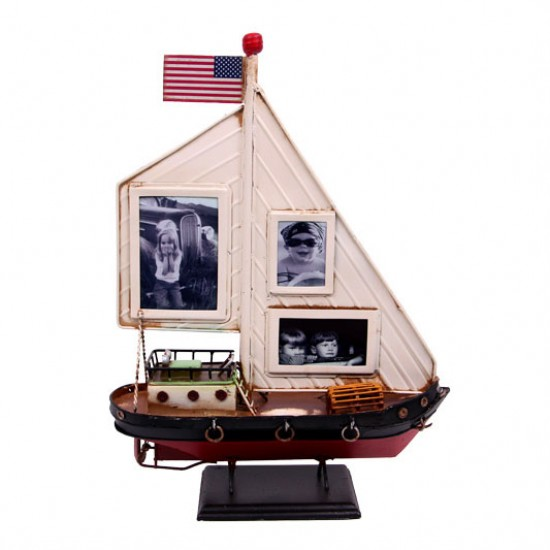 Dekoratif Metal Çerçeveli Gemi Yelkenli