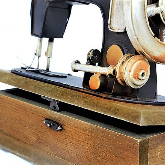 Dekoratif Metal Dikiş Makinesi ve Takı Kutusu
