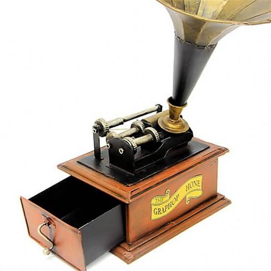 Dekoratif Metal  Gramofon Kutu Çekmeceli