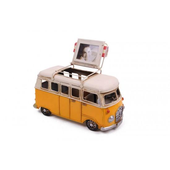 Dekoratif Metal Minibüs Kalemlik ve Çerçeveli Metal Araba