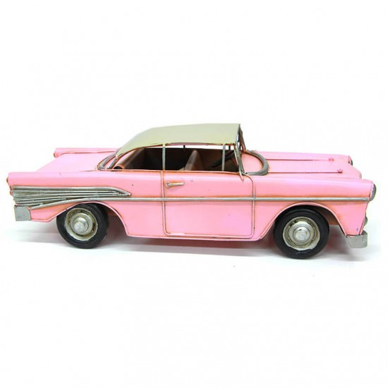 Dekoratif  Metal Nostaljik  Chevrolet Dev Boyut Pembe