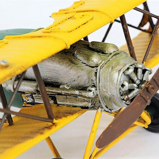 Dekoratif  Metal Savaş Uçak Çift Kanatlı Sarı (model 1)