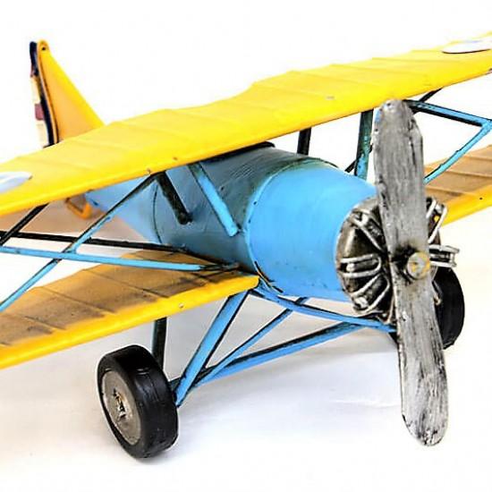 Dekoratif  Metal Savaş Uçak Çift Kanatlı Tayyare