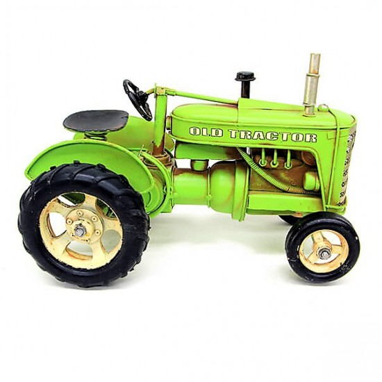 Dekoratif Nostaljik Metal Bahçe Traktör Büyük Boy Yeşil