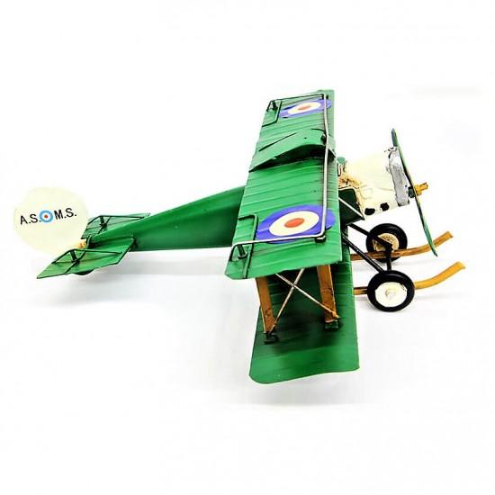 Dekoratif Yeşil Metal Uçak Çift Kanatlı (Model1)
