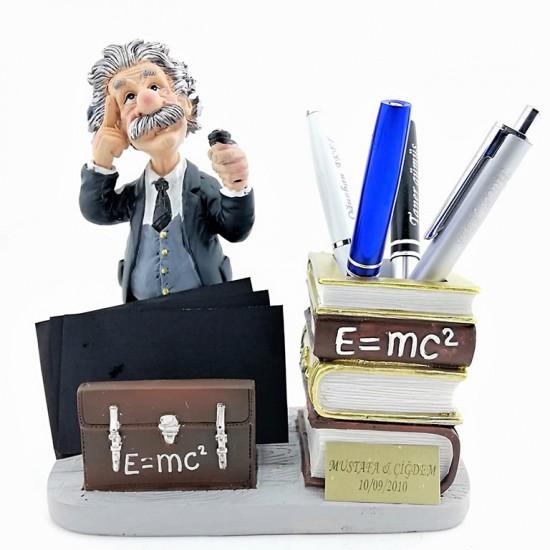 Kişiye Özel Albert Einstein Biblolu Kalemlik ve Kartvizitlik