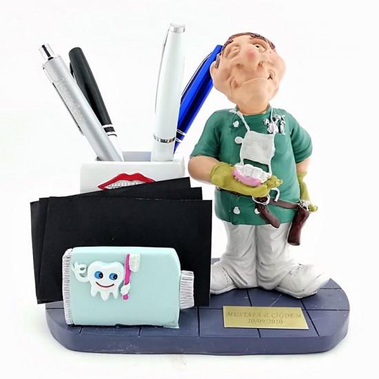 Kişiye Özel Erkek Dişçi Biblolu Kalemlik ve Kartvizitlik