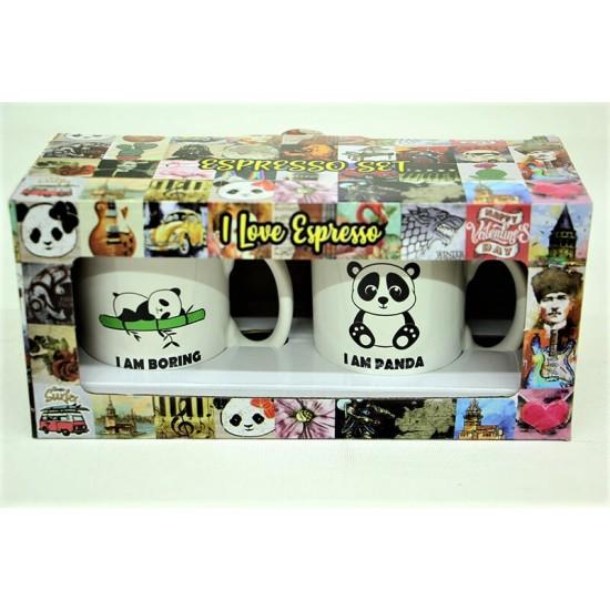 Panda Temalı 2'li Kupa Bardak Seti